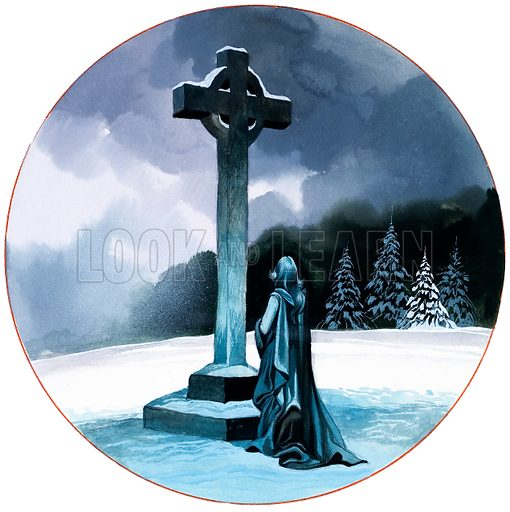 Each day throughout the year that had gone by Elizabeth had prayed for Tannhauser before a wayside cross, even during the bleak winter months/ Original artwork for an illustration on p48 0f L&L no. 598 (30 June 1973).