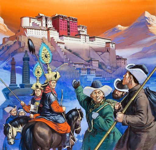 Tibet.  Original artwork for Look and Learn.  Lent for scanning by the Illustration Art Gallery.