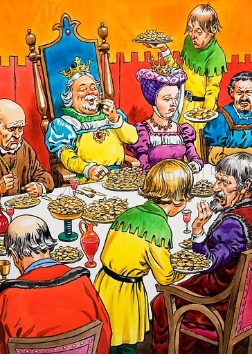 King and Queen at - unusual - dinner.  Original artwork for illustration on p48 of Playhour annual 1979.