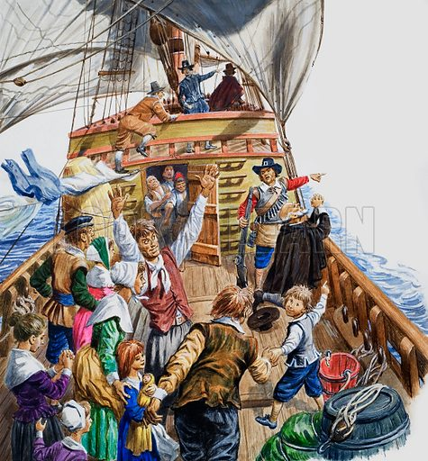 The Pilgrim Fathers on board the Mayflower bound for America, 1620. Original artwork for illustration on pp88–89 of Tell Me Why annual 1972.
