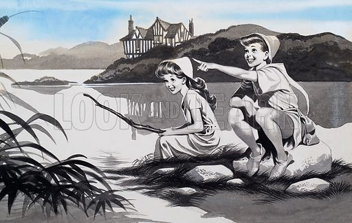 Boy and girl on lake.  Original artwork.  Lent for scanning by the Illustration Art Gallery.