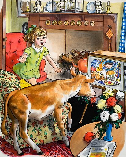 Cow watching the television.  Original artwork for illustration in Teddy Bear issue of 30 October 1971.  Lent for scanning by the Illustration Art Gallery.