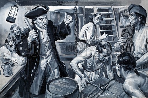 "Dr Johnson: ""No man will be a sailor who has contrivance enough to get himself into jail."" Life below deck in the eighteenth-century, showing conditions worse than prison and with the added risk of drowning. Original artwork for illustration on p3 L&L no. 266 (18 February 1967)."