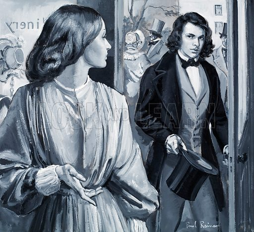 Elizabeth Siddal and Dante Gabriel Rossetti. Original artwork for illustration on p28 of L&L no. 391 (12 July 1969).