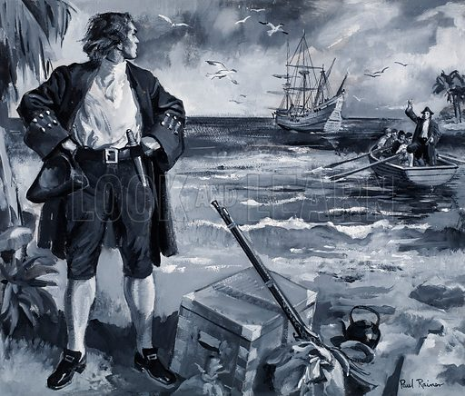 Scottish sailor Alexander Selkirk marooned as a castaway on the tiny Pacific island of Juan Fernandez, 1704. Selkirk's survival on the island was the inspiration for Daniel Defoe's novel Robinson Crusoe. Original artwork for the illustration on p10 of Look and Learn no. 330 (11 May 1968).