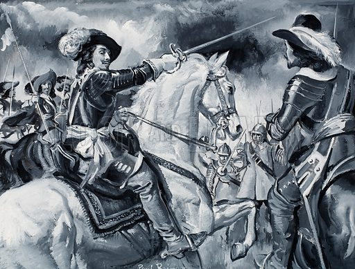 Battle scene showing Ryalists led by Charles I who was one of the finest horsemen of his day. Original artwork for illustration on p3 of L&L no. 314 (20 January 1968).