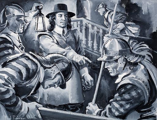 Oliver Cromwell and his Roundheads search a house for Royalists. Original artwork for illustration on pp2-3 of L&L no.317 (10 February 1968).