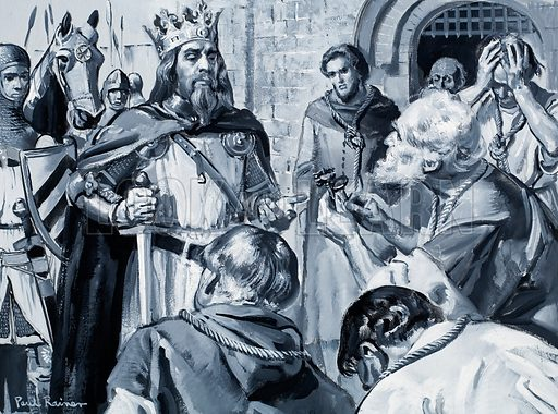 Six of the most important citizens of Calais with ropes about their necks came before King Edward III and handed him the keys to their city. Original artwork for an illustration on p3 pf L&L no. 323 (27 March 1968).