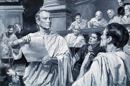 """""""Veni, vidi, vici."""" (I came, I saw, I conquered): Julius Caesar's letter to the Roman Senate describing his victory over Pharnaces of Pontus at the Battle of Zela in 47 BC Original artwork for illustration on p3 of Look and Learn issue no 281."""