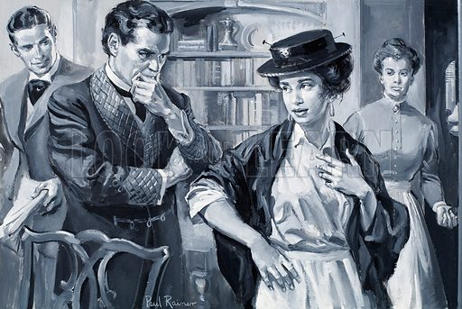 "Who Said...? ""I don't want to talk grammar. I want to talk like a lady."" Eliza Doolittle, in Bernard Shaw's 'Pygmalion'.  Original artwork for illustration on p29 of Look and Learn issue no 295.  Lent for scanning by the Illustration Art Gallery."