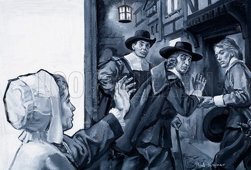 John Milton is led aways by friends to a tactical imprisonment in the Tower of London under an old warrant. Original artwork for an illustration on p24 of L&L no.381 (3 May 1969).