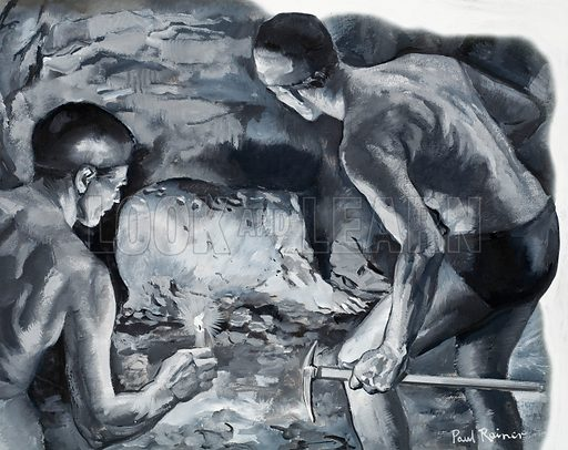 Norbert Castaret and Henri Godin discover a sculpture made by cavemen high in a cave in the Pyrenees. Artwork for illustration on p21 of L&L no. 357 (16 November 1968).