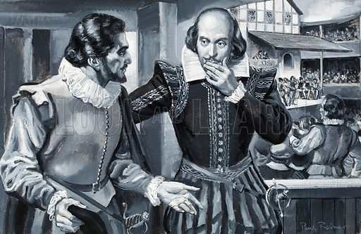 """English playwrights Ben Jonson and William Shakespeare. """"In his writing (whatever he penned) he never blotted out a line. My answer hath been 'Would he had blotted a thousand'"""": Ben Jonson on William Shakespeare. Original artwork for illustration on p3 of Look and Learn issue no 264."""
