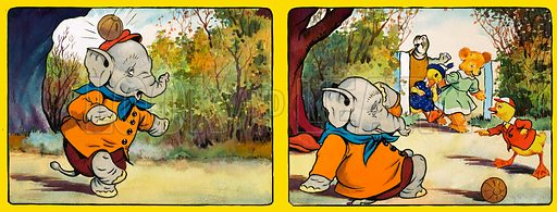 Elephant being hit by a ball.  Original artwork for illustration in Playhour.  Lent for scanning by the Illustration Art Gallery.