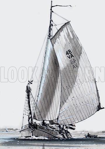 Sailing barge. Original artwork for Look and Learn.