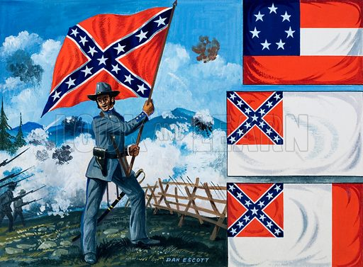 "A Confederate officer holds the ""Southern Cross"" banner or flag aloft. Top right the ""Stars and Bars"". Original artwork for an illustration on p28 of L&L no. 139 (12 September 1966)."