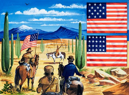 The flag was changed again in 1795 in recognition of the States of Kentucky and Vermont. It then remained unchanged until 1818 when there were more than twenty states, and Congress decided to add only stars and no more stripes, keeping just eleven to symbolise the original colonies. Original artwork for an illustration on p28 of L&L no. 139 (12 September 1966).