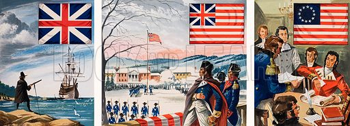 Left: The Pilgrim Fathers had the Red Cross of St George in the Union Jack, which then did not include the Cross of St Patrick. Centre: The American forces besieging Boston during the War of Independence raised a new flag on Prospect Hill. Right: One year after the Declaration of Independence a new flag was chosen, with thirteen stripes and thirteen stars. Illustration by Dan Escott