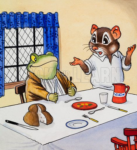 Mr Toad waiting for his food. Original artwork for illustration in Playhour issue of 7 January 1956.