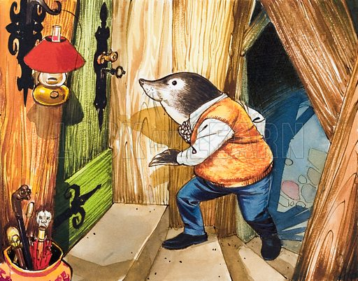 Mr Mole has a visitor.  Original artwork.  Lent for scanning by the Illustration Art Gallery.