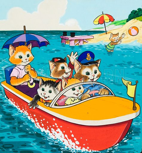 Cat family in motorboat.  Original artwork.  Lent for scanning by the Illustration Art Gallery.