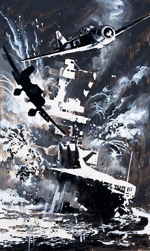 Naval battle scene. Original artwork for Look and Learn.