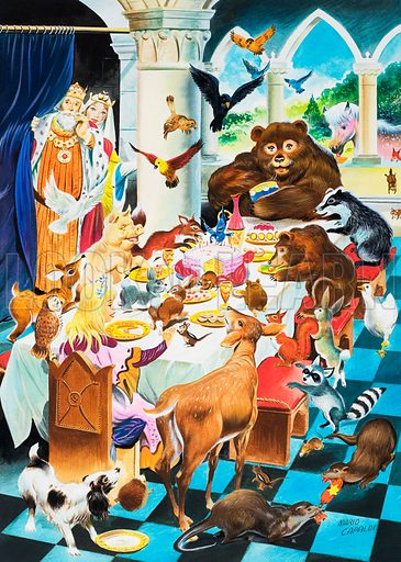 Animal tea party.  Original artwork for Once Upon a Time.  Lent for scanning by the Illustration Art Gallery.