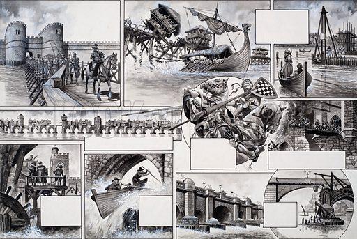 The Story of London Bridge. Original artwork for illustrations on pp30-31 of L&L no.549 (22 July 1972).