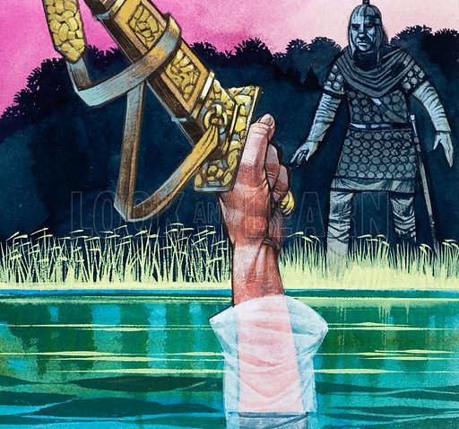 Sir Bedivere returns Excalibur to the Lady of the Lake. Original artwork for illustration on p48 of L&L no. 541 (27 May 1972).