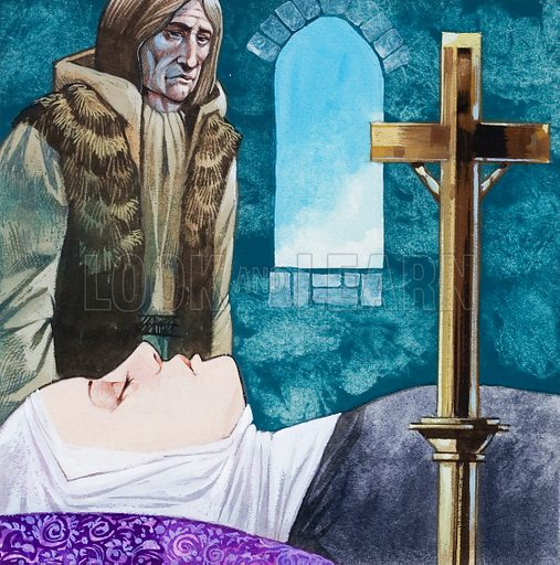 Sir Lancelot arrives at the nunnery but Queen Guinivere has already died. Original artwork for illustration on p48 of L&L no. 541 (27 May 1972).