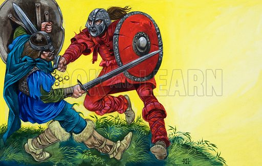 The Red Knight fells Balin with a mighty blow. Original artwork for illustration on p48 of L&L no. 534 (8 April 1972).