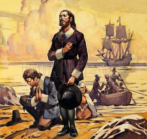 Arrival of the Pilgrim fathers in America on board the Mayflower, 1620. Original artwork for Look and Learn.