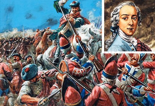 The Battle of Culloden.  Inset: Prince Charles Edward.  Original artwork for illustration on p25 of The Sixth Look and Learn Book of 1001 Questions and Answers.  Lent for scanning by the Illustration Art Gallery.