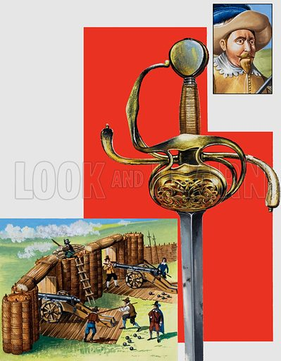 The sword of Gustavus Adolphus. Original artwork for illustrations on p30 of L&L no. 993 (21 March 1981).
