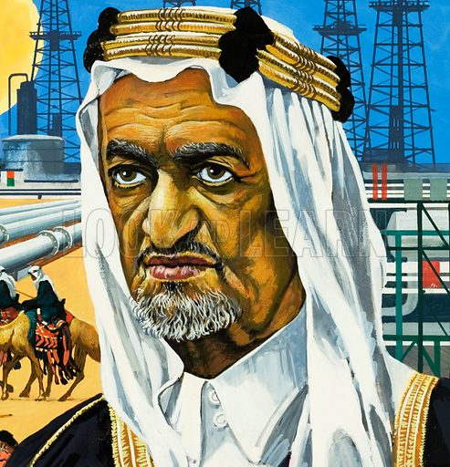 King Faisal of Saudi Arabia.  Original artwork (cut down) for cover of Look and Learn issue no 639 (13 April 1974).  Lent for scanning by the Illustration Art Gallery.