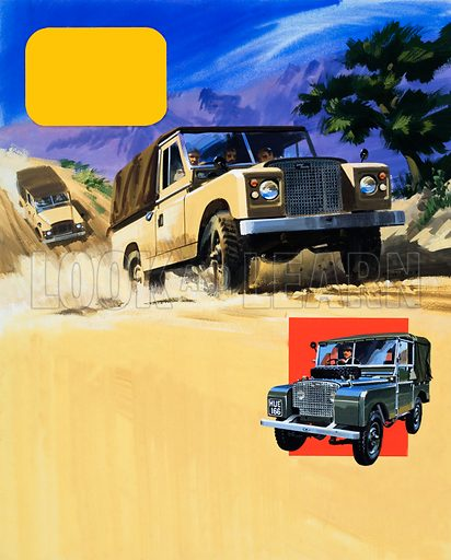 Safari Land-Rovers and the very first Land-Rover. Original artwork for illustrations on p of L&L no. 427  (21 March 1970).