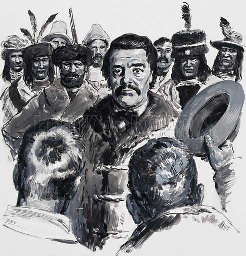 Louis Riel and the Metis whose territorial and hunting interests he defended. Original artwork for illustration on p6 of L&L no. 561 (14 October 1972).