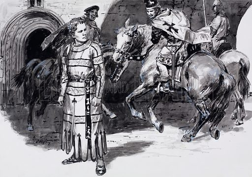 John Lackland, the tiny tyrant, later King John. Original artwork for illustration on p5 of L&L no. 526 (12 February 1972).