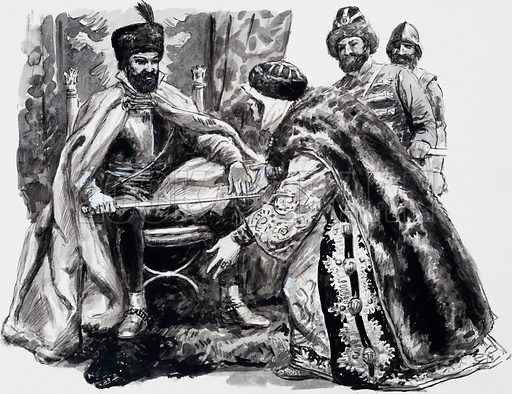 Boris Godunov asks Ivan the Terrible's widow whether she thinks Dimitry is still alive. Original artwork for an illustration on p9 of L&L no. 525 (5 February 1972).