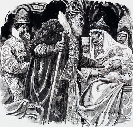Ivan the Terrible's queen with their son, Dimitry. Original artwork for illustration on p8 of L&L no. 525 (5 February 1972).