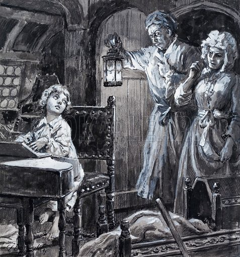 Unidentified scene, showing a musical prodigy seated at a square piano being upbraided in the middle of the night by guardians or parents. Original artwork.