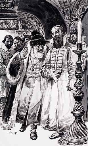Ivan the Terrible befriended the ambitious young man at court, Boris Godunov, much to the dismay of the other courtiers. Original artwork for illustration on p7 of L&L no.525 (5 February 1972).
