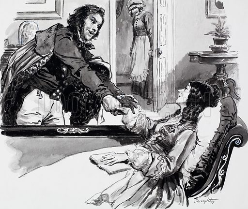 Elizabeth Barret Browning and Robert Browning. Original artwork for illustration on p14 of L&L no. 635 (16 March 1974).
