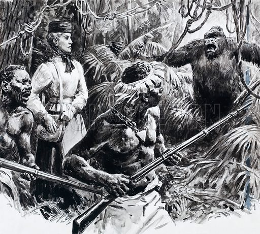 Lady explorer or missionary in Africa with guides and an unwelcome orang-u tan. Original artwork.