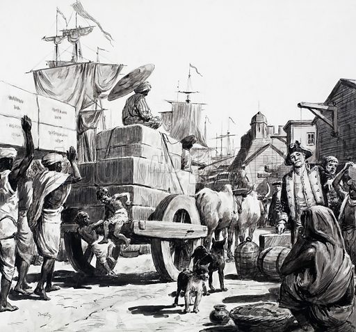 East India Company docks, Bengal. Into the East India Company's warehouses came tea, coffee, silk, spices, saltpetre, cotton and teak. Original artwork for illustration on p14 of Look and Lwarn no. 551 (5 August 1972).