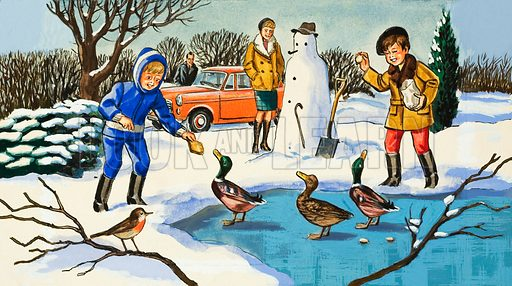 Feeding Ducks.  Original artwork for Jack and Jill.  Lent for scanning by the Illustration Art Gallery.