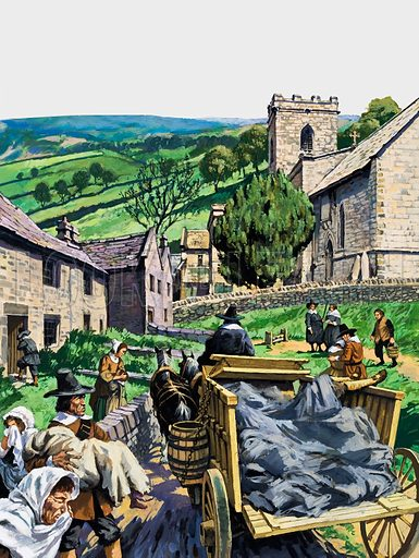 Plague victims are taken to the churchyard in the village of Eyam in Derbyshire, where the inhabitants quarantined themselves to prevent the Plague from spreading.