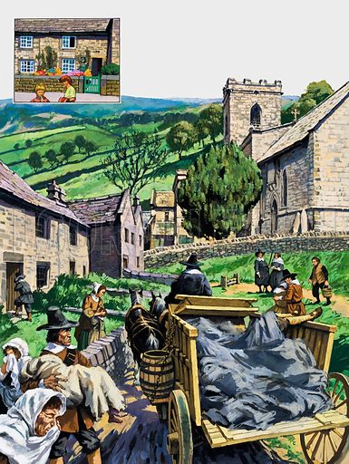 Plague victims are taken to the churchyard in the village of Eyam in Derbyshire, where the inhabitants quarantined themselves to prevent the Plague from spreading. Original artwork for illustration on p31 of L&L no. 870 (16 September 1978).