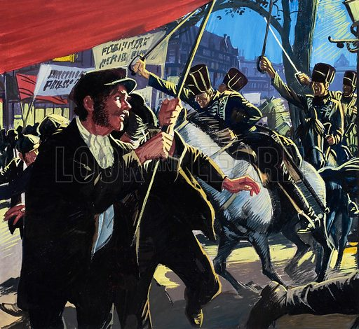 The Peterloo Massacre. As 50,000 protesters screamed in panic, the hussars rode through the crowd, swinging and striking out at anyone within reach. Origina artwork for illustration in World of Wonder annual.  Lent for scanning by the Illustration Art Gallery.
