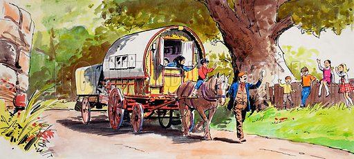 Gypsy Caravan.  Original artwork.  Lent for scanning by the Illustration Art Gallery.